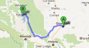 a map from great falls to lakeside montana