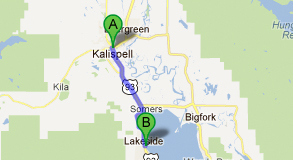 a map from kalispell to lakeside montana