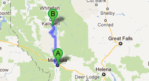 a map from missoula to lakeside montana